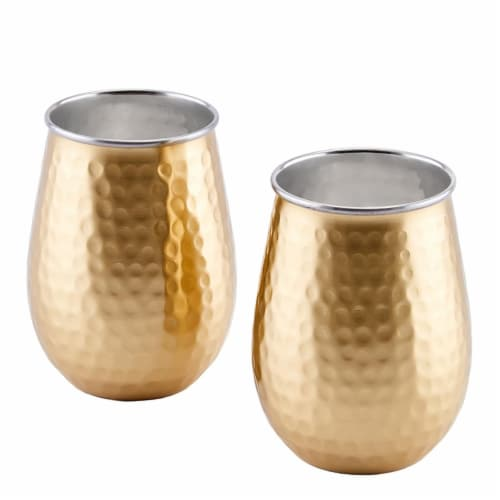 Old Dutch International 2P797H 17 oz Two-Ply Gold Champagne Hammered Stainless Steel Stemless Perspective: front