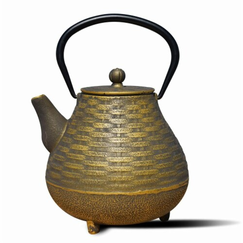 Old Dutch International 1060BC 41 oz Orimono Teapot - Black & Gold  Cast Iron Perspective: front