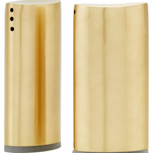 Old Dutch International 3 in. Oval Salt & Pepper Shaker Set, Gold Perspective: front