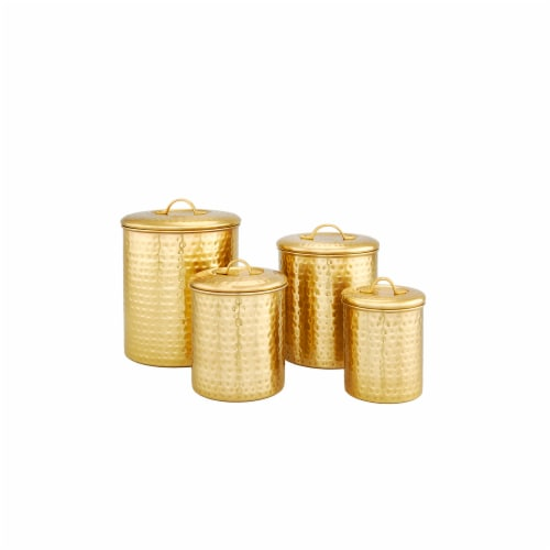 Old Dutch International 843CC Decor Champagne Hammered Storage Canister Set Perspective: front