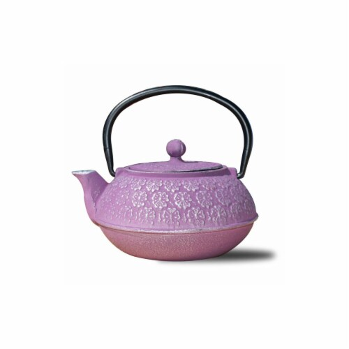 Old Dutch International 1032PM 22 oz Cherry Blossom Teapot - Plum  Cast Iron Perspective: front