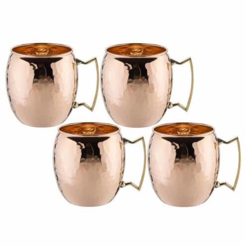 Old Dutch International OS429H 16 oz. Solid Copper Hammered Moscow Mule Mug - Set of 4 Perspective: front