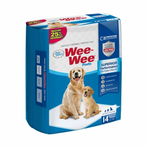 Four Paws Wee-Wee Quilted Housebreaking Pads 14 Count Perspective: front