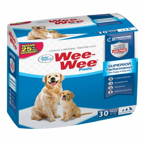 Four Paws Wee-Wee Quilted Housebreaking Pads 30 Count Perspective: front