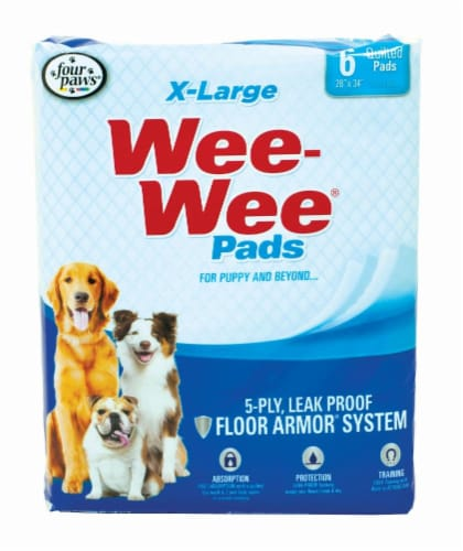 Four Paws X-Large Wee-Wee Pads 6 Count Perspective: front