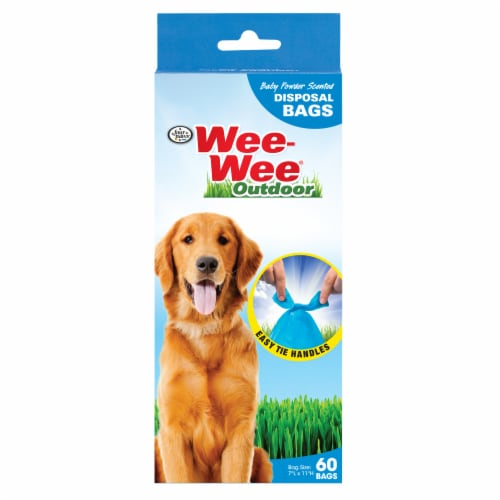 Four Paws Wee-Wee Outdoor Baby Powder Scented Waste Disposal Bags Perspective: front