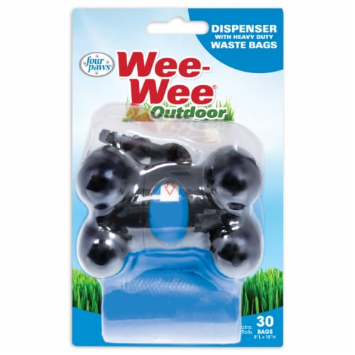 Four Paws Wee-Wee Outdoor Heavy Duty Waste Bags & Dispenser Perspective: front