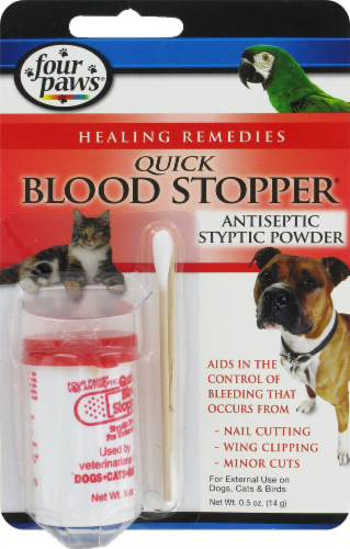 Four Paws Quick Blood Stopper Antiseptic Stypic Powder Perspective: front