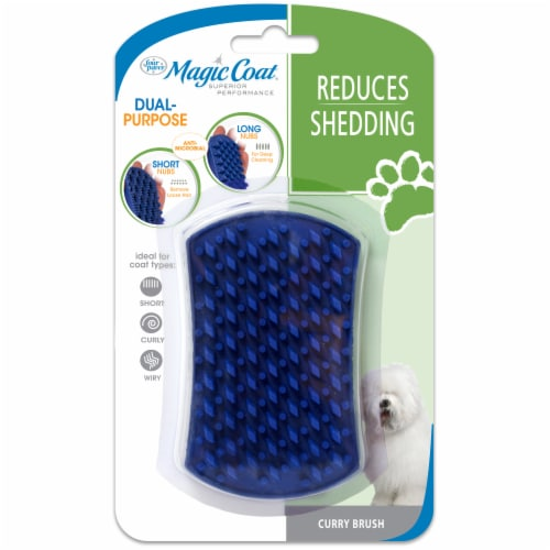 Four Paws Magic Coat Reduces Shedding Curry Brush Perspective: front