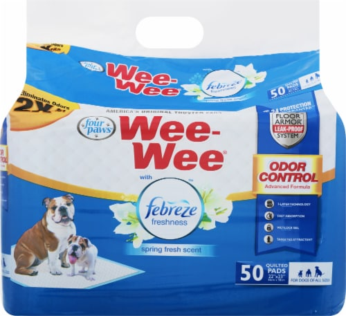 Four Paws Febreze Spring Fresh Scent Wee-Wee Pads Perspective: front