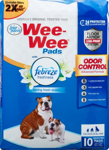 Four Paws Febreze Spring Fresh Scent Wee-Wee Pads 10 Count Perspective: front