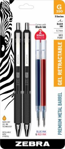 Zebra G-350 0.7mm Black Gel Retractable Pens and Bonus Refills Perspective: front