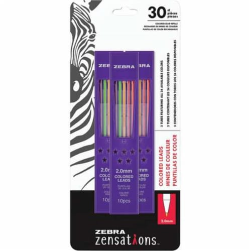 Zebra Zensations Colored Pencil Lead Refill 30pc Perspective: front