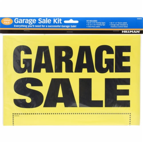 Hillman™ Yellow Plastic Garage Sale Sign Kit Perspective: front