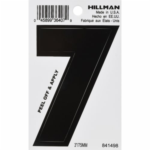 Hillman 3 in. Black Vinyl Self-Adhesive Number 7 1 pc. - Case Of: 6; Perspective: front