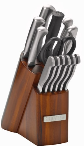 Sabatier Stainless Steel Hollow Handle Knife Set with Wood Block Perspective: front