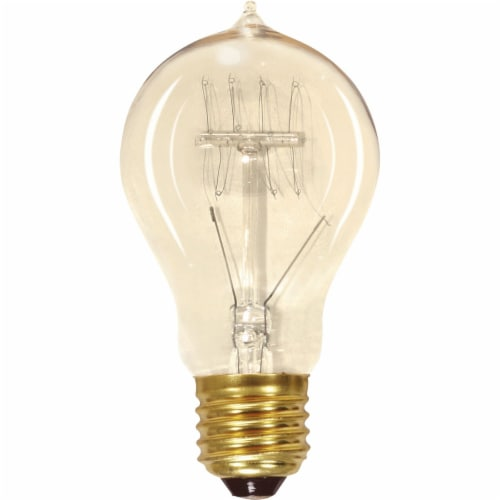 Satco 60W Clear Medium Edison A19 Incandescent Vintage Light Bulb S2419 Perspective: front