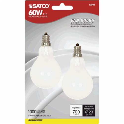 Satco 2pk 60w Sw Cand Fan Bulb S2743 Perspective: front