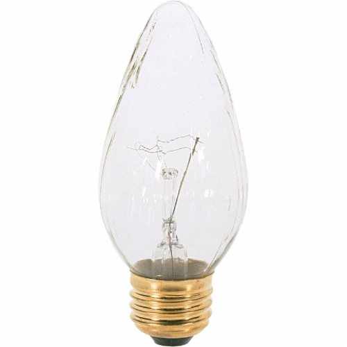 Satco 40W Clear Medium F15 Incandescent Flame Tip Light Bulb (2-Pack) S2767 Perspective: front