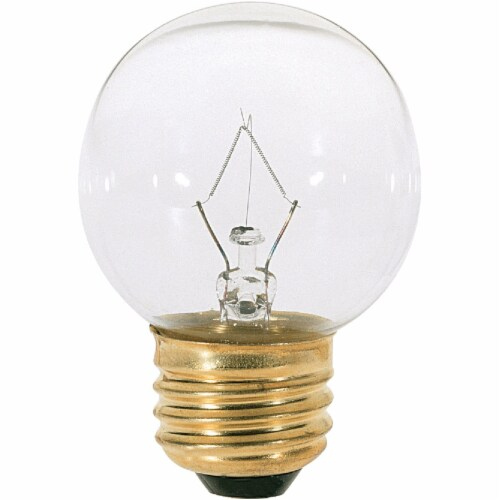 Satco 25W Clear Medium G16.5 Incandescent Globe Light Bulb S4538 Perspective: front