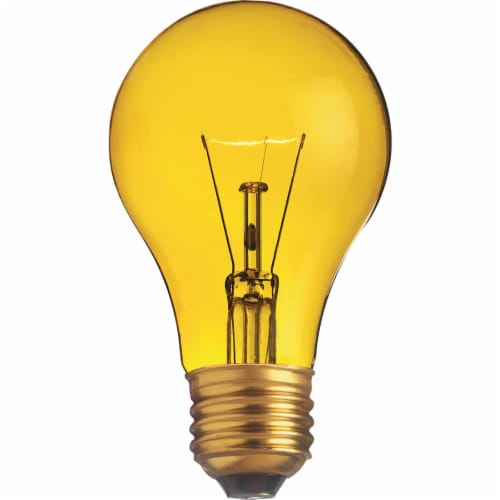 Satco 25W Transparent Yellow Medium A19 Incandescent Party Light Bulb  S6083 Perspective: front