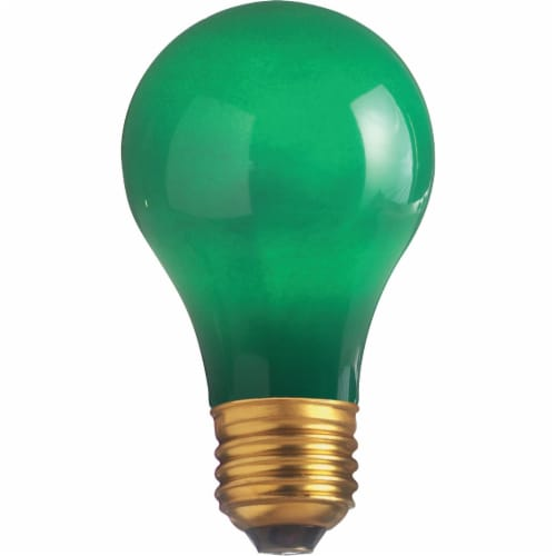 Satco 25W Ceramic Green Medium A19 Incandescent Party Light Bulb  S6091 Perspective: front