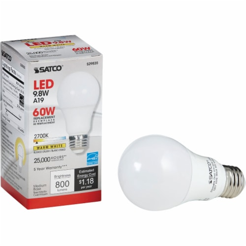 Satco 60W Equivalent Warm White A19 Medium Dimmable LED Light Bulb S29835 Perspective: front