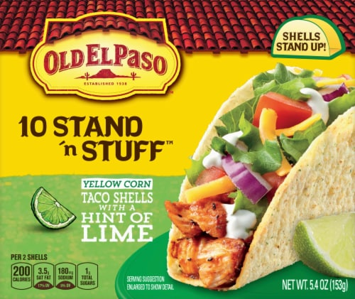 Old El Paso Stand 'N Stuff White Corn with a Hint of Lime Taco Shells Perspective: front