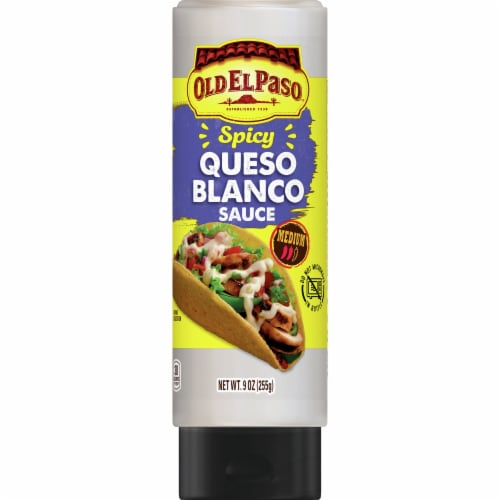 Old El Paso Spicy Queso Blanco Squeeze Sauce Perspective: front