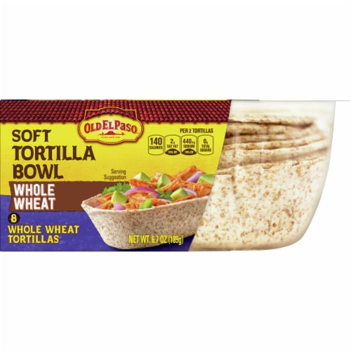 Old El Paso Whole Wheat Soft Tortilla Taco Bowls Perspective: front