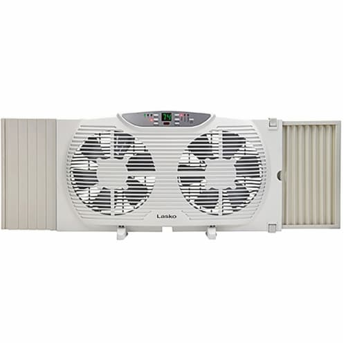 Lasko Electrically Reversible Twin Window Fan with Remote Control Perspective: front