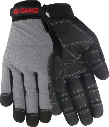 Red Steer Glove Company® Ironskin® Mesh Backed General Utility Gloves - Gray Perspective: front