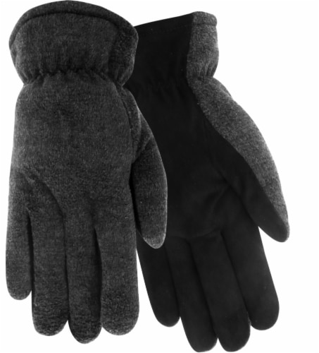 Red Steer Glove Company HeatSaver Suede Deerskin Palm Men's Driver Gloves - Charcoal/Dark Gray Perspective: front