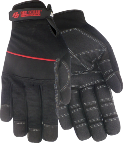 Red Steer Glove Company® Ironskin® Roughneck® General Utility Gloves - Black Perspective: front