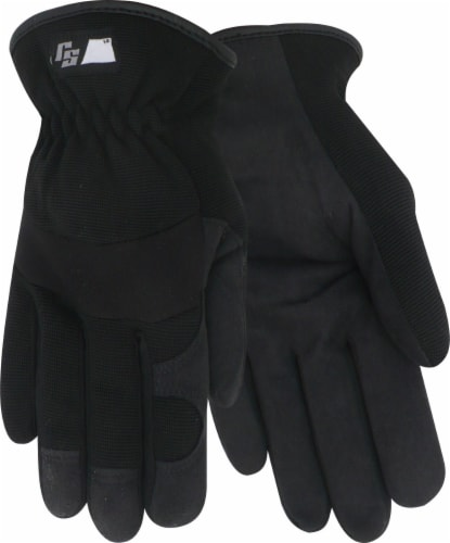 Red Steer Glove Company Ironskin Synthetic Leather Palm Driver Gloves - Black Perspective: front
