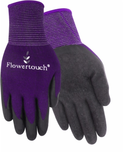 Red Steer Glove Company Flowertouch Rubber Palm Women's Gloves - Purple Perspective: front