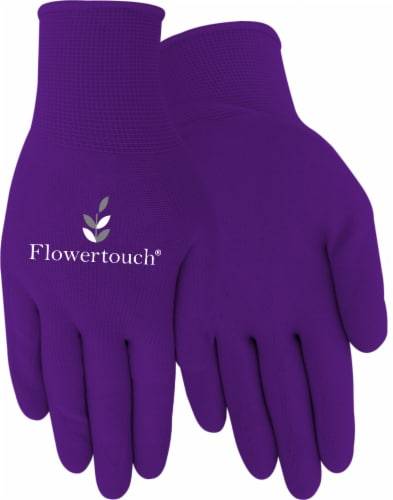 Red Steer Glove Company Flowertouch Womens Foam Latex Gloves - Purple Perspective: front