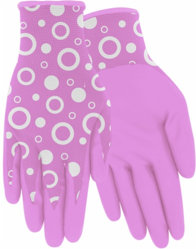 Red Steer Glove Company Bubble Pattern Nitrile Palm Women's Gloves - Pink Perspective: front