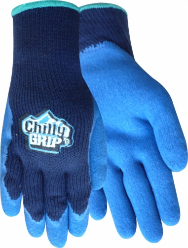 Red Steer Glove Company Chilly Grip Rubber Palm Gloves - Blue Perspective: front