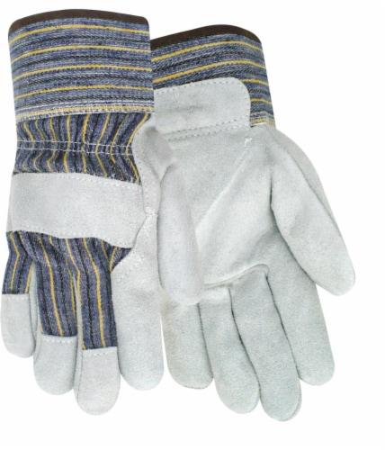Red Steer Glove Company Suede Cowhide Leather Palm Gloves - Blue/Yellow/White Perspective: front