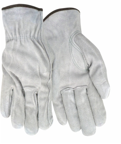 Red Steer Men's Suede Cowhide Leather Work Gloves - Gray Perspective: front