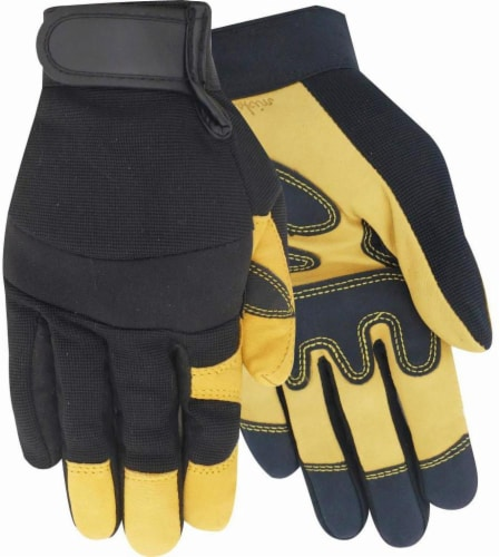 Red Steer Men's Goatskin Hybrid Work Gloves - Black/Yellow Perspective: front