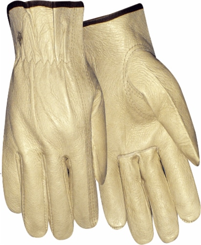 Red Steer Men's Cowhide Leather Work Gloves - Tan Perspective: front