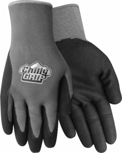 Red Steer Glove Company Chilly Grip Water Resistant Nitrile Palm Men's Gloves - Gray Perspective: front