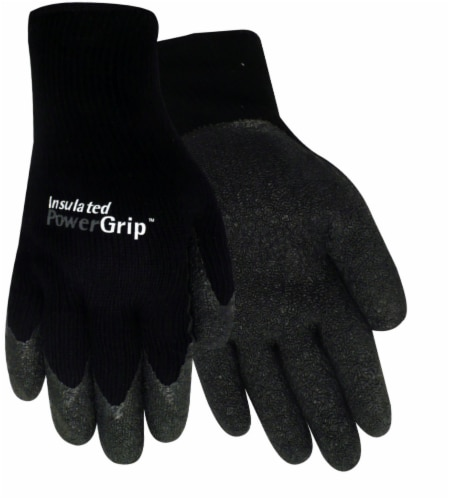 Red Steer Glove Company Insulated Powergrip Rubber Palm Gloves - Black Perspective: front