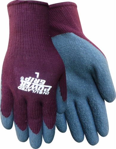 Red Steer Glove Company Womens Insulated Powergrip Rubber Palm Gloves - Burgundy/Blue Perspective: front