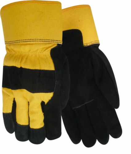 Red Steer Glove Company Lined Suede Cowhide Leather Lined Palm Gloves - Black/Yellow Perspective: front