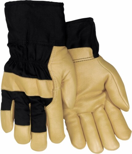 Red Steer Glove Company Lined Grain Pigskin Leather Palm Gloves - Black/Gold Perspective: front