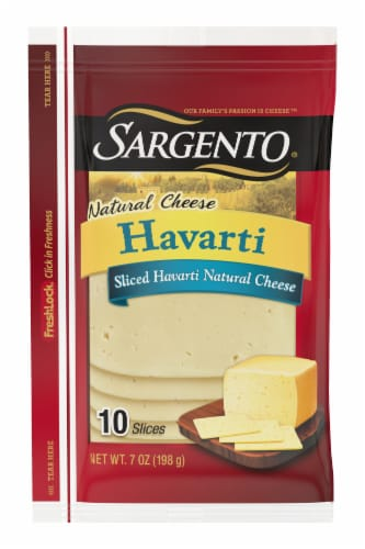 Sargento Natural Havarti Cheese Slices 10 Count Perspective: front