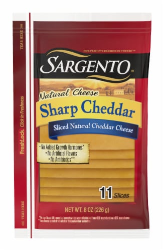 Sargento Natural Sharp Cheddar Cheese Slices Perspective: front